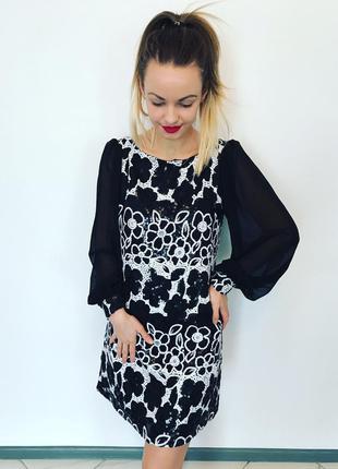 Платье в паетки шифоновые рукава черное белое коктейльное вечернее