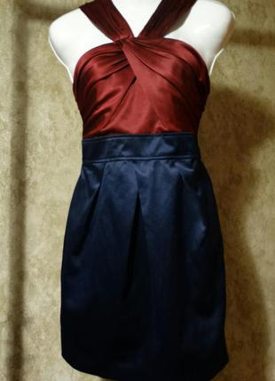 Атласное коктельное,вечернее платье new look