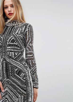 Asos роскошное декорированное платье бисер пайетки жемчуг