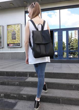 Новый большой женский рюкзак кожа чёрный