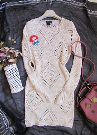 Платье (туника) крупной вязки /mango/размер s-m + шарф