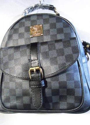 Супер цена! стильный рюкзак в клетку темно синий сумка женска