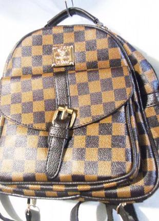 Топ коричневый рюкзак в клетку хит сезона жіночий рюкзак эко кожа
