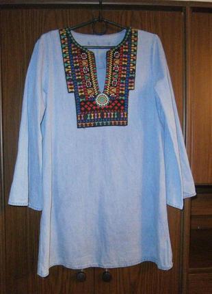Стильное джинсовое платье туника в этно стиле