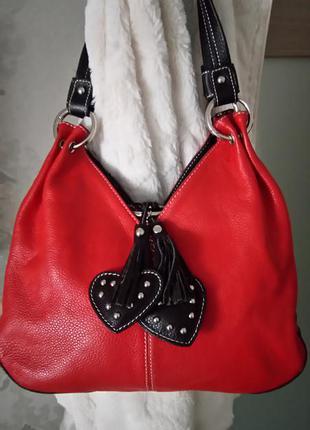 Роскошная кожаная яркая сумочка vera pelle