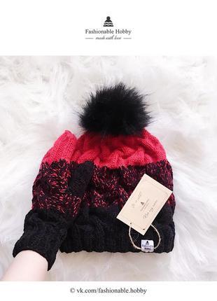 ❄ вязаный комплект, шапка и варежки черно-красного цвета ❄