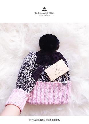 ❄ вязаный комплект, шапка и варежки черно-белого цвета с розовым отворотом ❄