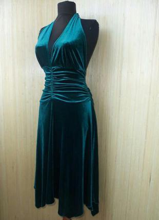 Велюровое зелёное вечернее платье под грудь с открытой спиной bay l/xxl