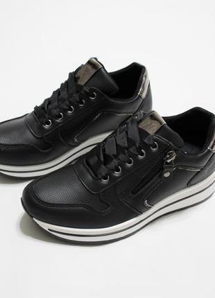 Черные женские кроссовки, материал - эко-кожа