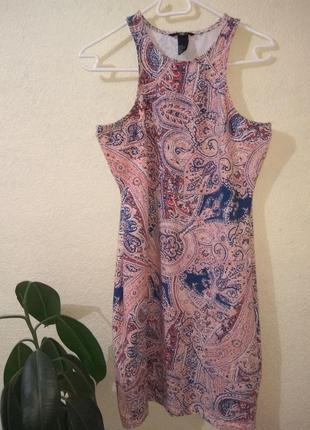 Летнее хлопковое платье футляр принт h&m