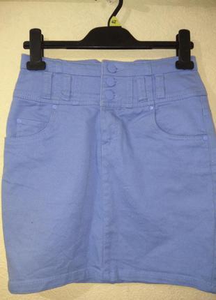 Голубая джинсовая мини юбка завышенная высокая талия посадка