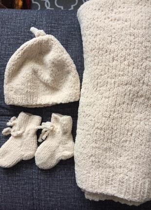 Плюшевый детский плед . набор плед , шапочка , пинетки