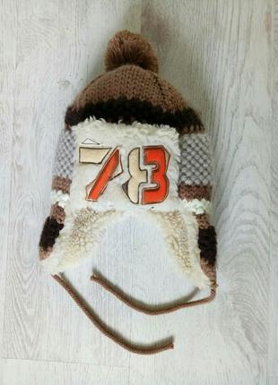 Теплая шапка на мальчика коричневая бежевая беж меховая 8-9-10 лет