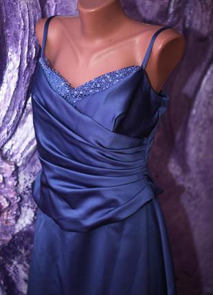 Платье выпускное в пол атласное s-m