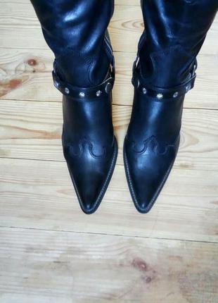 37р/24.5 черные кожаные ковбойские сапоги с сьемным ремушком,оригинал,бренд,казаки.
