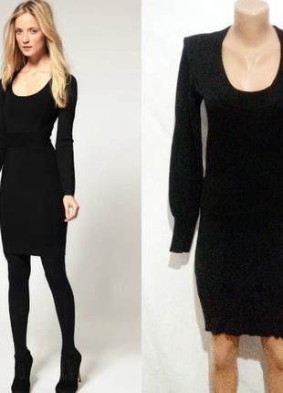 Черное базовое трикотажное платье hallhuber
