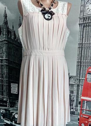 Пудрова сукня пліссе з мереживом