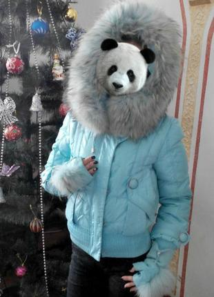 Зимняя куртка-пуховик натуральный мех s