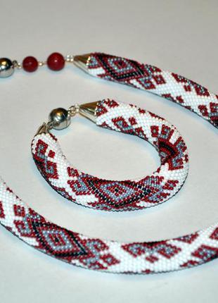 Украшение в народном стиле бисерный жгут и браслет hand made