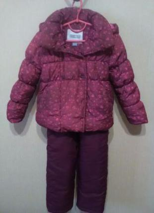Стильный зимний комбинезон марсала+ куртка цвета марсала!!! на 92-100 см!!!