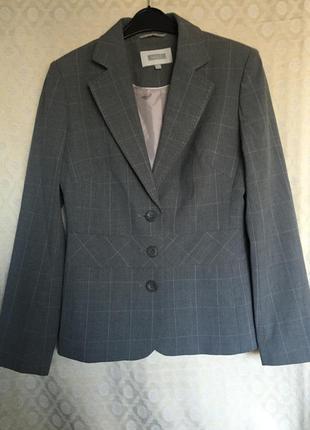 Серый пиджак, жакет в клетку для деловой леди,размер-10/m