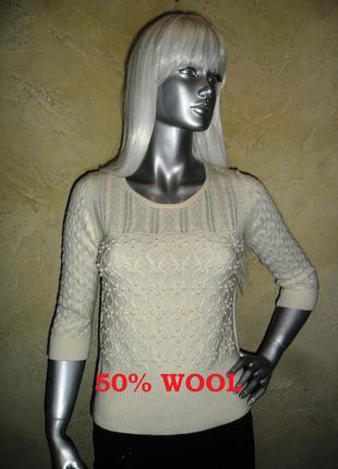 Красивый теплый качественный шерстяной вязаный трикотажный джемпер пуловер свитер cc s-m