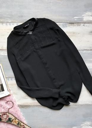 Чёрная шифоновая блуза с вышивкой f&f