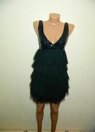 Платье черное с паетками и фатином новое р. 42-44 club l