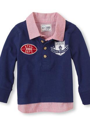 Новая детская футболка поло с длинным рукавом the children's place 3t на 3 годика