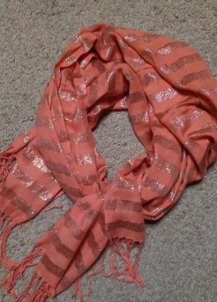 Parfois шикарный шарф/ палантин, полоска коралл и золото