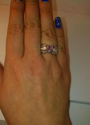 Кольцо с опалом и розовым топазом
