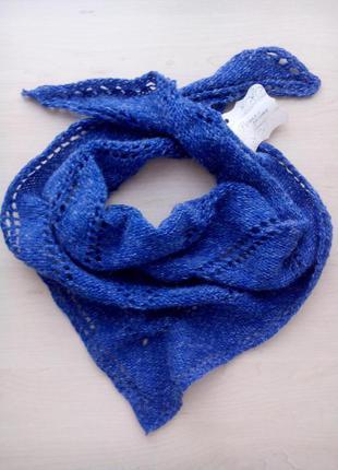Шейный платок бактус ультрамарин ручная работа hand-made шерсть альпака