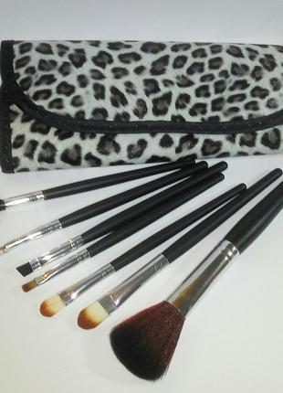 Акция🎄 кисти для макияжа набор 7 шт в футляре leopard