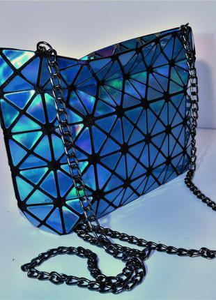 Bao bao сумка голографическая, голубой металлик тренд 2018