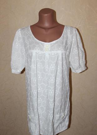 Хлопковая блузка туника с вышивкой большого размера