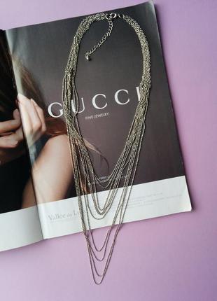 Многоярусное колье ожерелье с тонкими цепочками