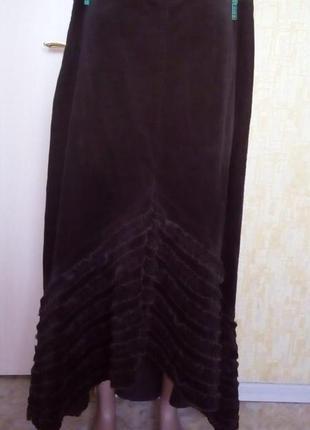Шикарная юбка клёш из бархатного микро-вельвета/длинная юбка/юбка/