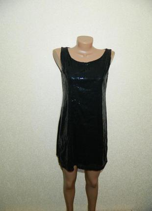 Платье черное спереди паетки р. 44-46 trend one