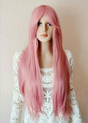 Парик розовый длинный