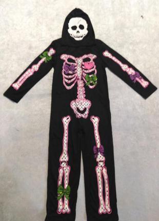 Карнавальный костюм на хэллоуин скелет 7-8 лет