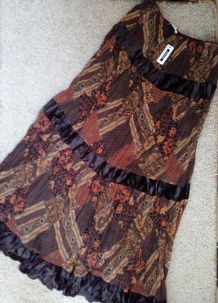George нереально крутая шифоновая юбка в  стиле бохо  с бархатными вставкамии воланом