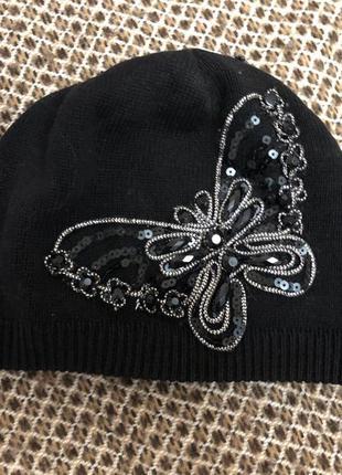 Шапочка/ шапка / вышивка  бабочка