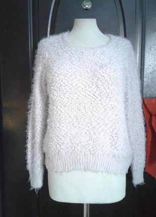Серо-розовый буклированный свитер-травка , l-xl,