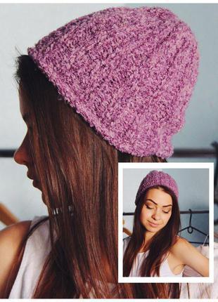 Фиолетовая вязанная шапка