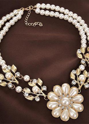 Ожерелье колье в камнях под жемчуг