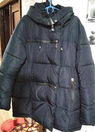 Пуховик темно синий зимний(пуховик одеяло, пуховик ёлка, широкий к низу) размер l,xl