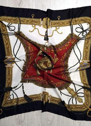 Красивейший шелковый платок каре 100% шелк саржевого плетения ( принт hermes )