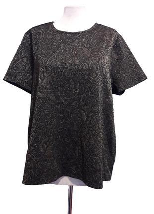 Акция!!! 1+1=3! стильная красивая блузочка черная с золотым узором (xxl, xxxl)