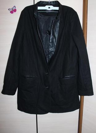 Стильне пальто  жакет  с воротником под кожу new look оверсайз , бойфренд
