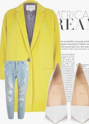 Желтое легкое пальто кокон, бойфренд,boyfriend, oversize  оверсайз от atmosphere, m, l